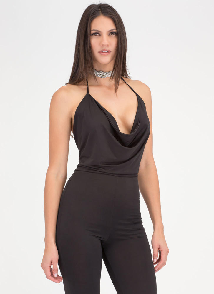 Drape Heavens Plunging Jumpsuit BLACK