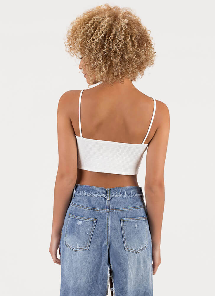 Try And Tie Again Lace-Up Crop Top IVORY