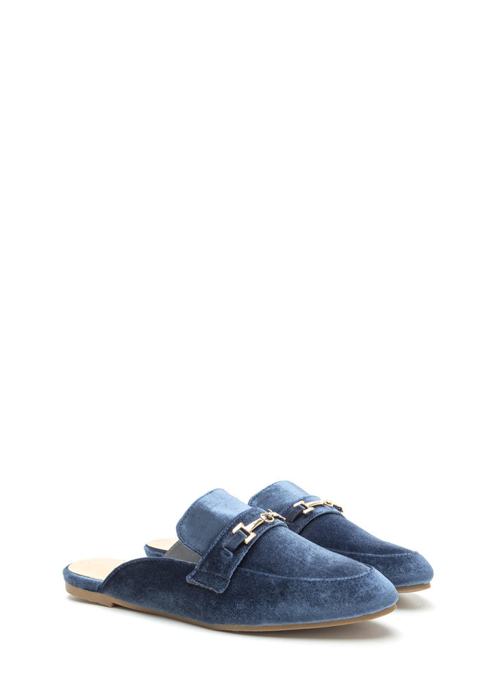Luxe Life Velvet Mule Smoking Flats BLUE