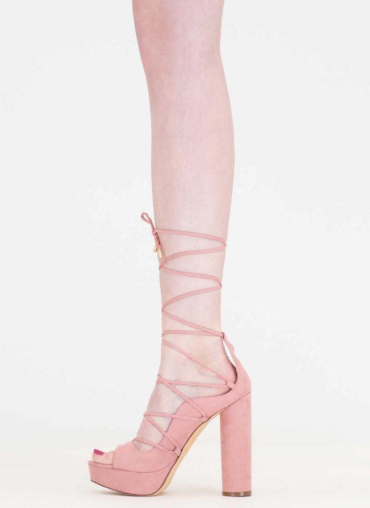 Do The Wave Chunky Lace-Up Platforms DUSTYPINK