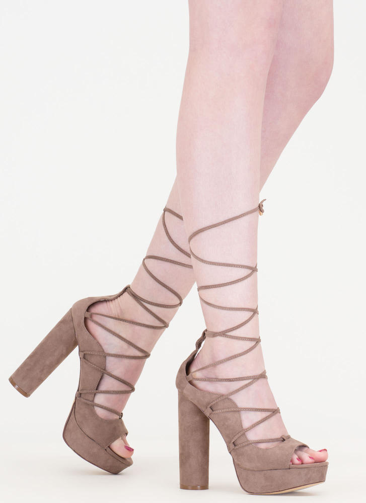 Do The Wave Chunky Lace-Up Platforms TAUPE (Final Sale)