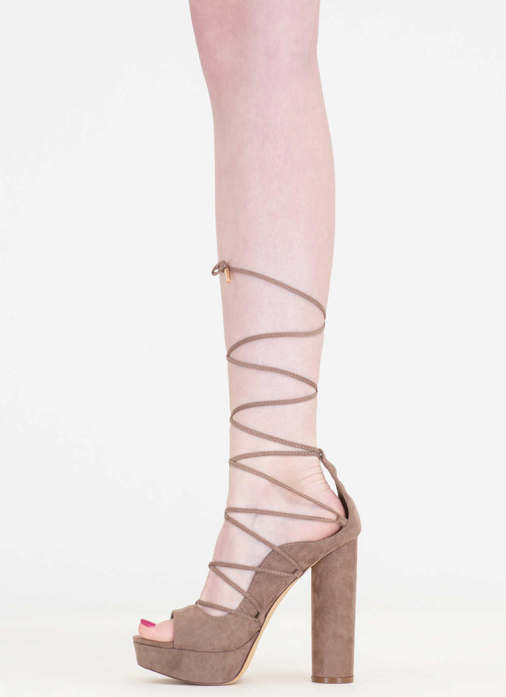 Do The Wave Chunky Lace-Up Platforms TAUPE