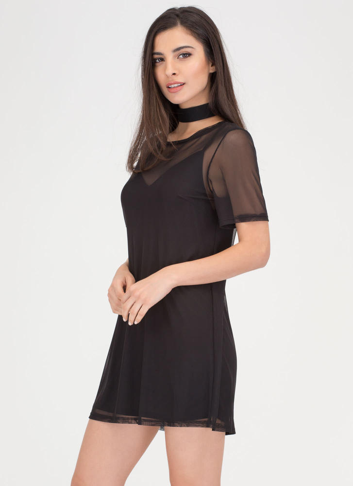 Inside And Out Sheer Mesh T-Shirt Dress BLACK