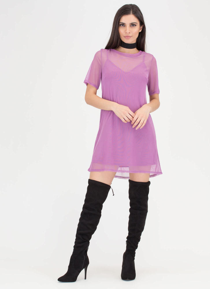 Inside And Out Sheer Mesh T-Shirt Dress LAVENDER