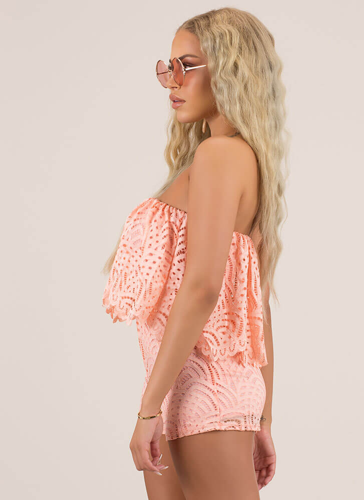 All Eyelets On You Lacy Tube Romper PEACH