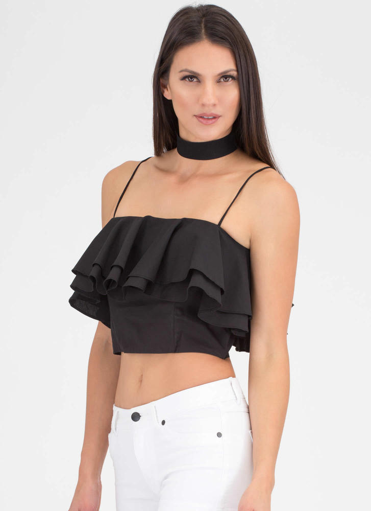 Double The Ruffles Flared Crop Top BLACK (Final Sale)