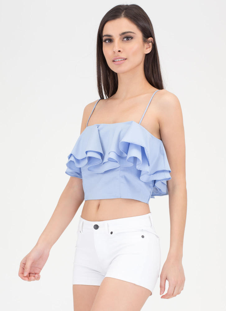 Double The Ruffles Flared Crop Top BLUE (Final Sale)