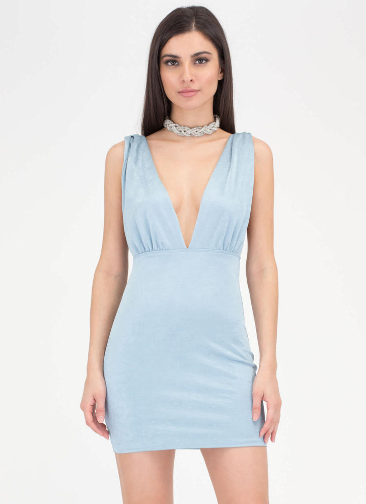Slight Twist Plunging Open Back Dress BLUE