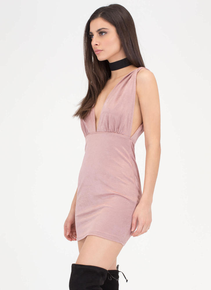 Slight Twist Plunging Open Back Dress MAUVE