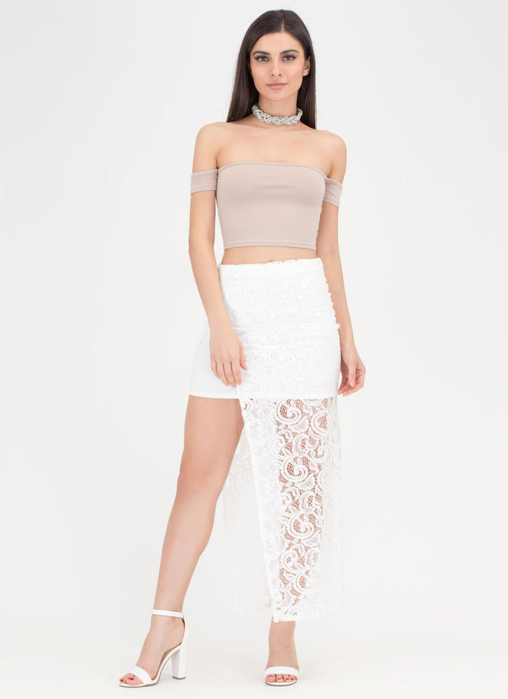 Pretty In Paisley High-Low Lace Skirt WHITE (Final Sale)