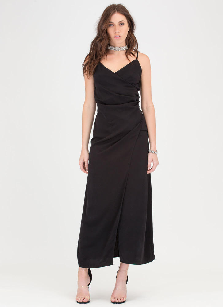 Dress Strong Maxi Flowy black Game Wrap 1IpqTf
