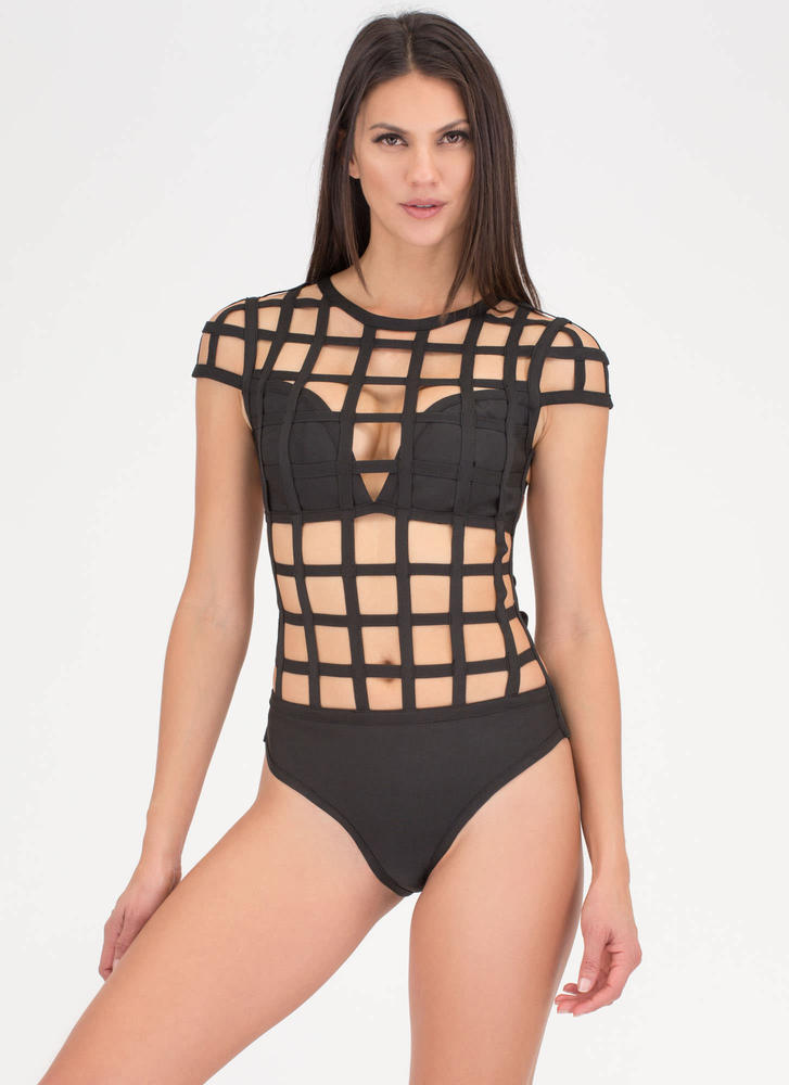 On The Grid Strappy Caged Bathing Suit BLACK (Final Sale)