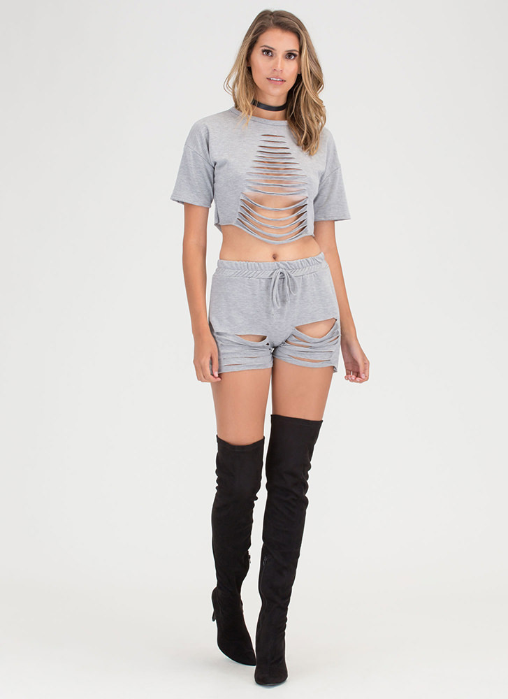 In A Slash Distressed Top And Shorts Set HGREY (You Saved $23)