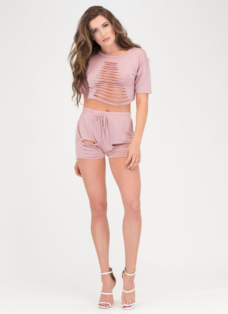In A Slash Distressed Top And Shorts Set MAUVE (You Saved $23)