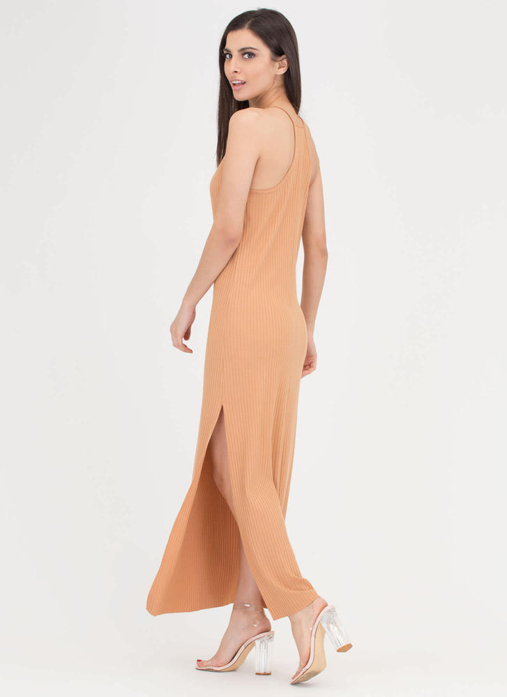 Speed Racer Ribbed Double Slit Maxi APRICOT