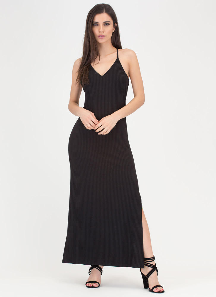 Speed Racer Ribbed Double Slit Maxi BLACK (Final Sale)