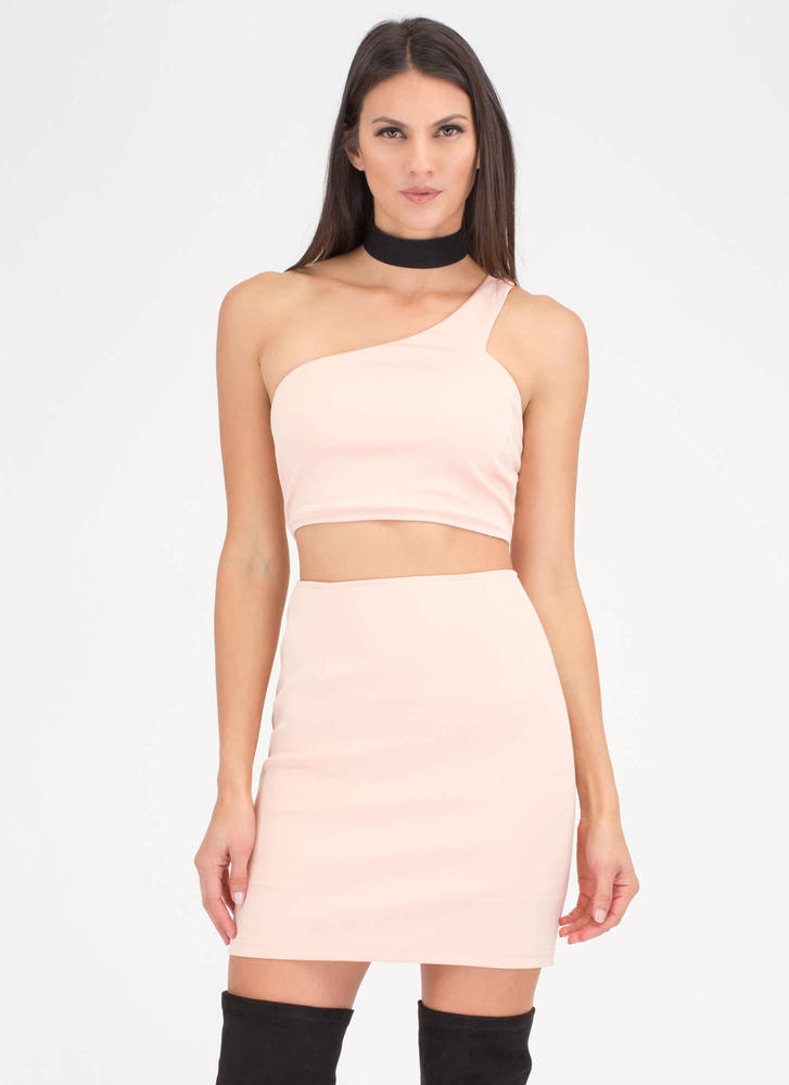 It Only Takes One-Shoulder Cut-Out Dress BLUSH (Final Sale)
