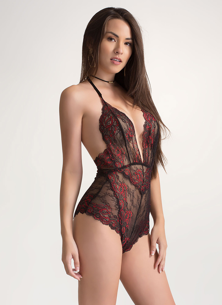 Swirls And Scallops Floral Lace Bodysuit BLACKRED