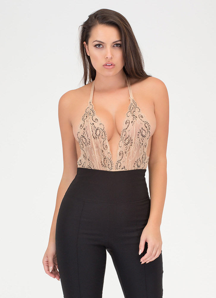 Swirls And Scallops Floral Lace Bodysuit NUDE