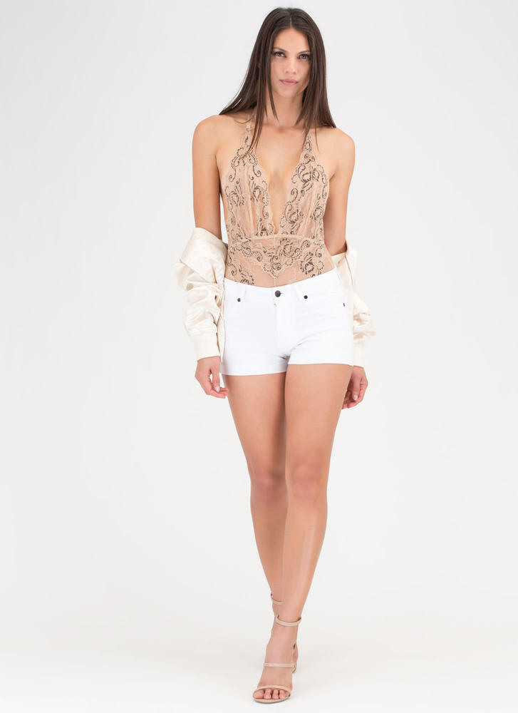 Swirls And Scallops Floral Lace Bodysuit NUDE (Final Sale)
