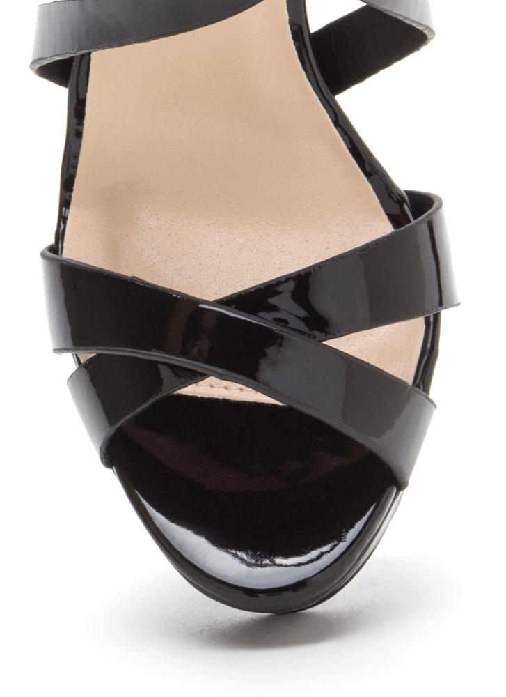 What A Trip Faux Patent Lucite Heels BLACK (Final Sale)
