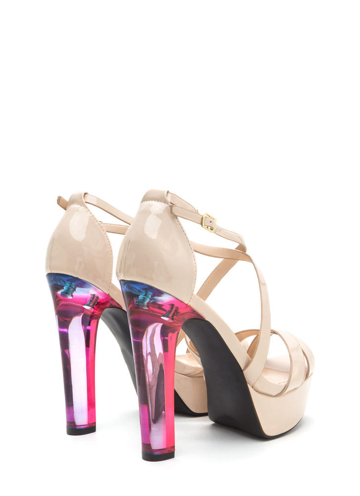 What A Trip Faux Patent Lucite Heels NUDE (Final Sale)