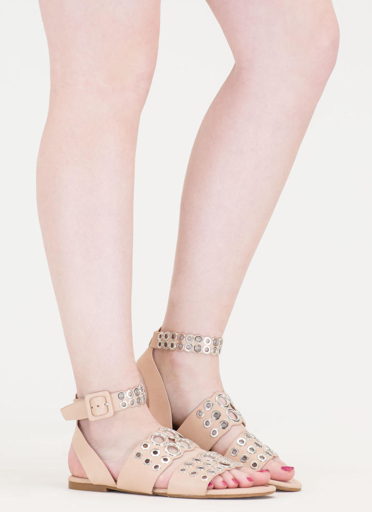Hole Story Punched Grommet Sandals NUDE (Final Sale)
