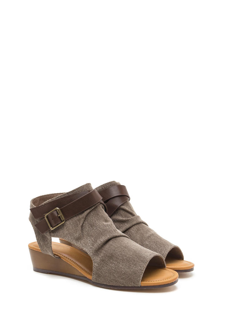 Good Coverage Canvas Wedge Sandals TAUPE