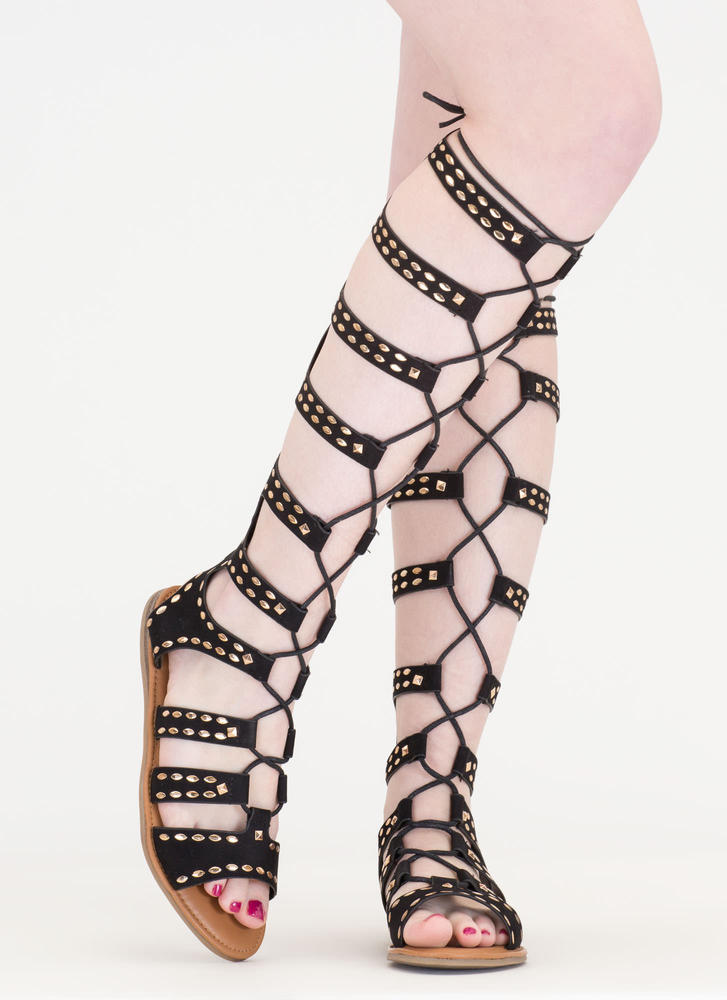 Studs And Straps Laced Gladiator Sandals BLACK