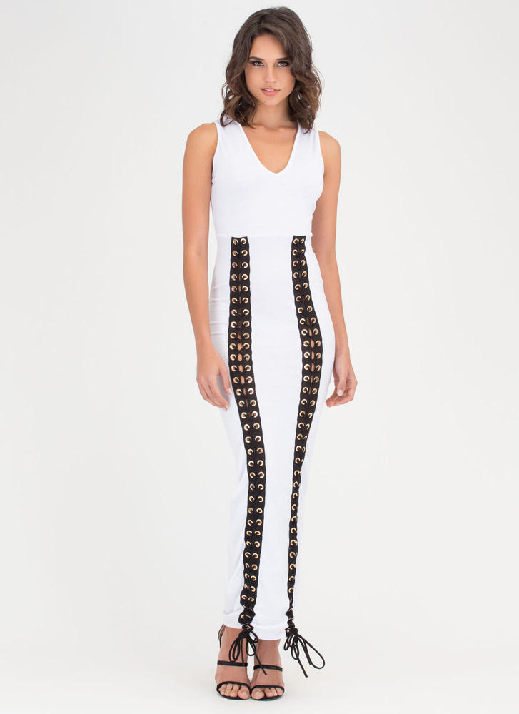 Double Decker Hooded Lace-Up Maxi WHITE (Final Sale)