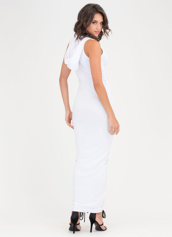 Double Decker Hooded Lace-Up Maxi WHITE