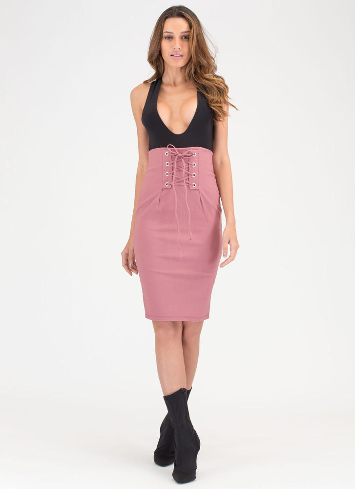 Due Corset High-Waisted Lace-Up Skirt MAUVE