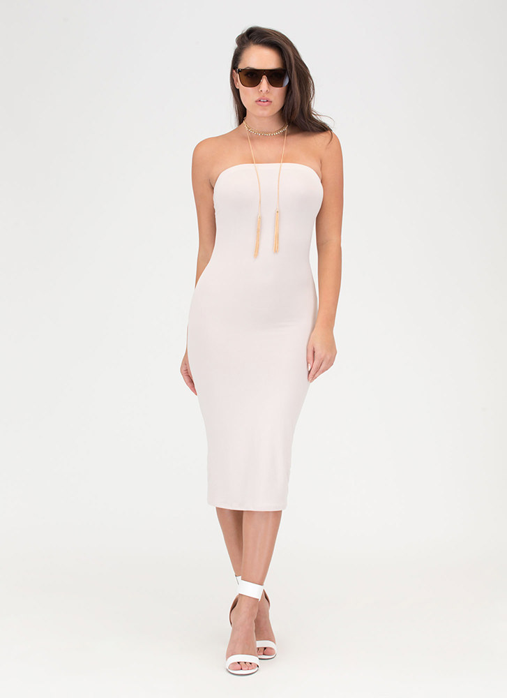 Riding The Tube Strapless Midi Dress STONE