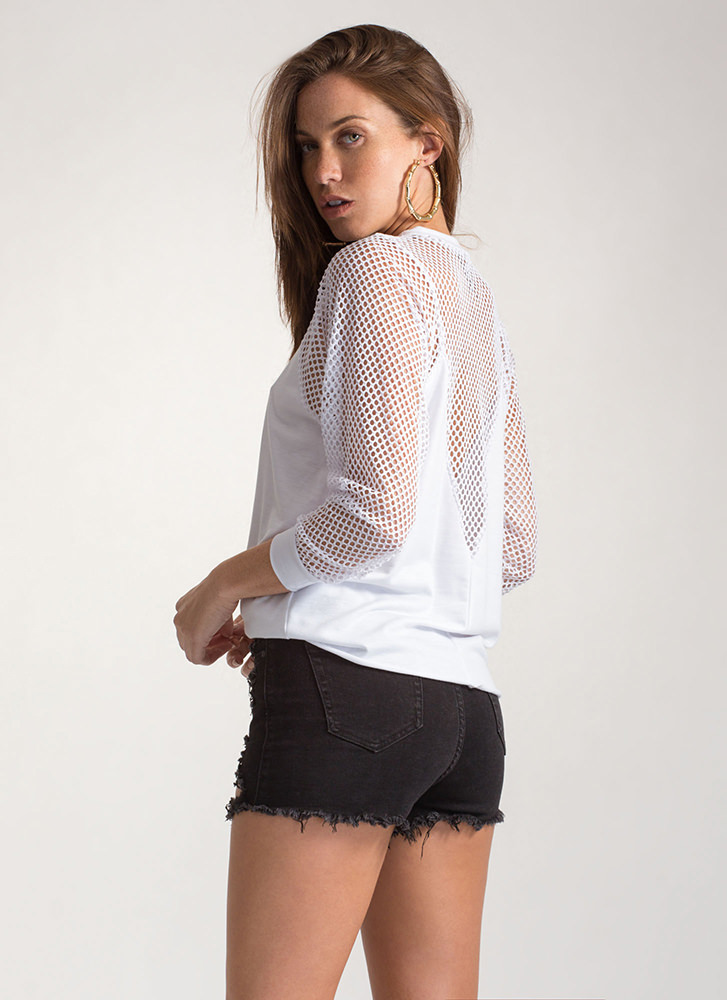 Sneak Peaks Plunging Netted Sweatshirt WHITE