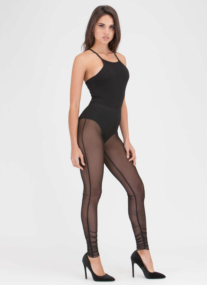 Sheer For It Ruched Mesh Leggings BLACK