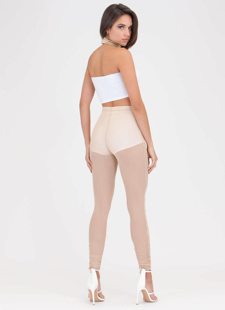 Sheer For It Ruched Mesh Leggings MOCHA
