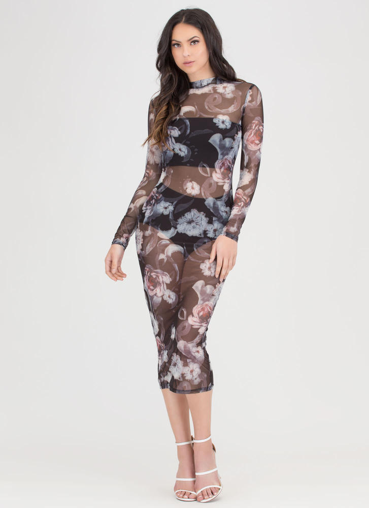 Floral Of The Story Sheer Midi Dress BLACK