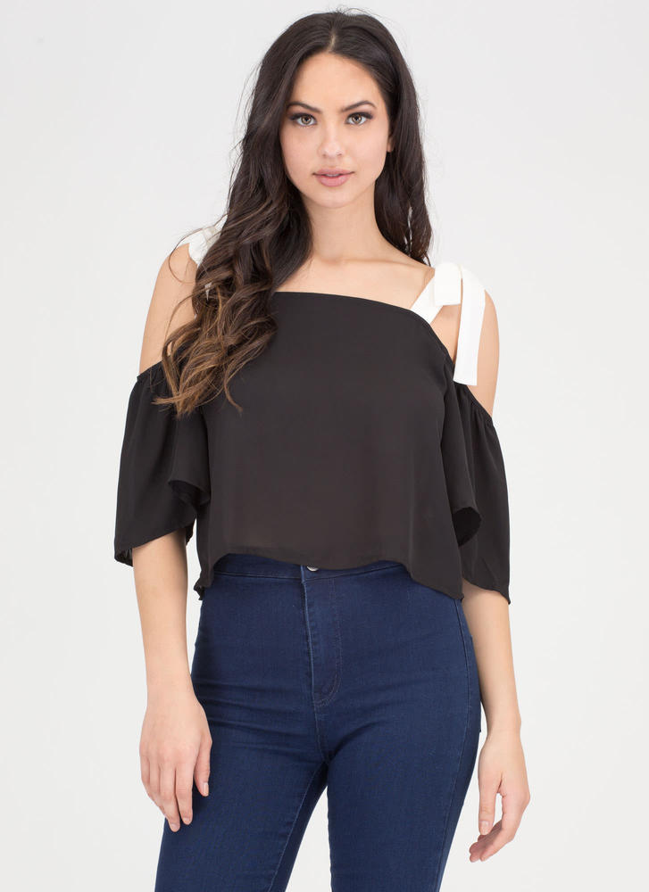 Swing By Chiffon Off-Shoulder Top BLACKWHITE