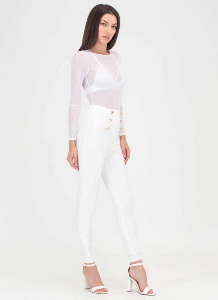 Sail Yeah Buttoned Skinny Pants WHITE (Final Sale)