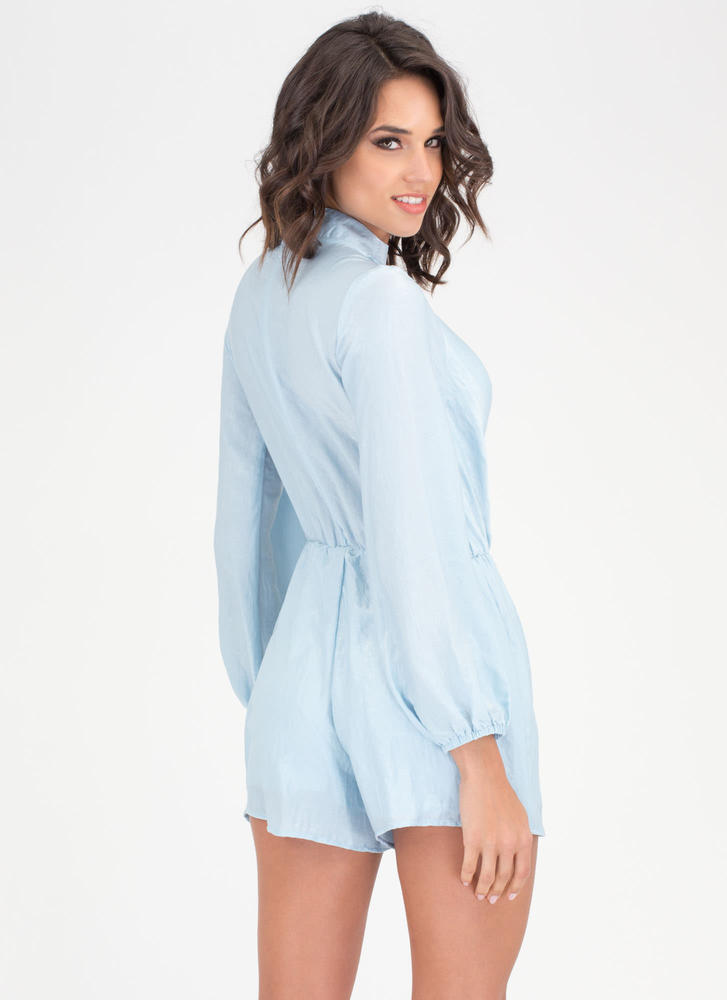 Silky Way Collared Surplice Romper BLUE