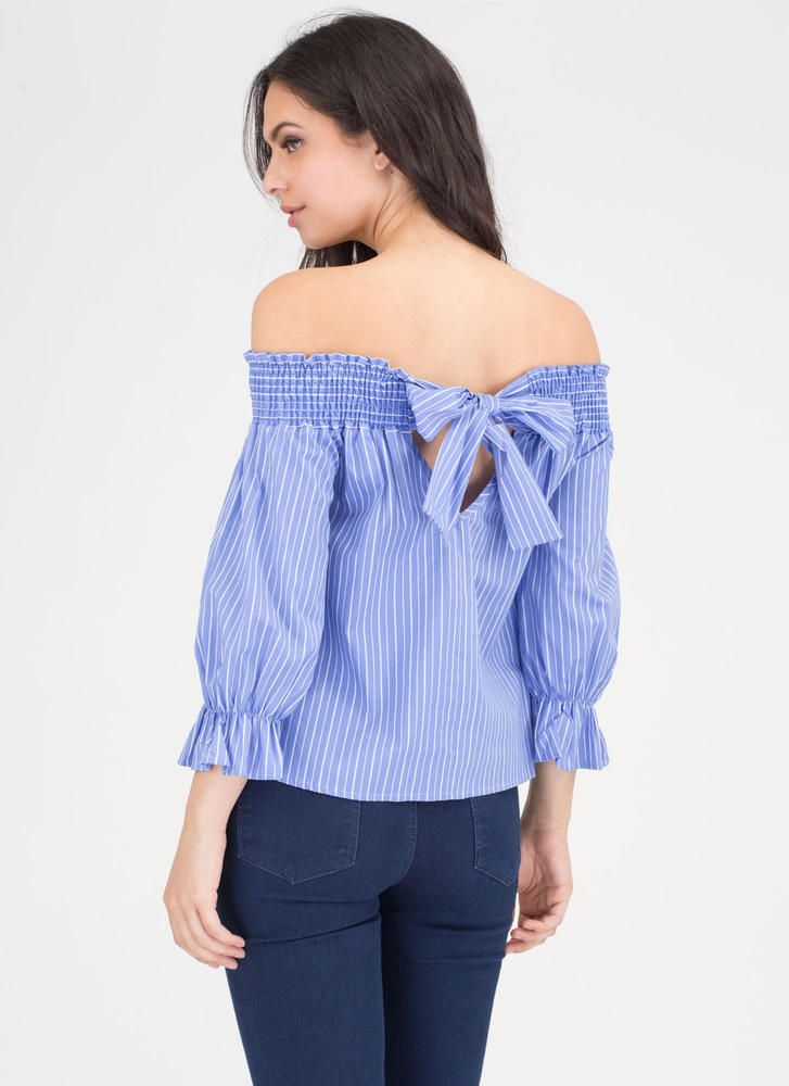 Bow Me Away Striped Off-Shoulder Top BLUE
