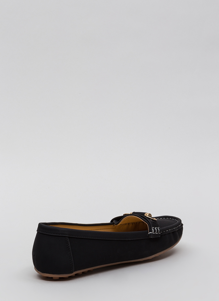 Yes Smoking Faux Suede Loafers BLACK