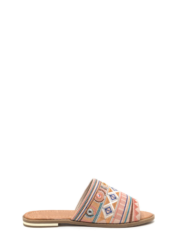 In Shapes Embroidered Slip-On Sandals BEIGE