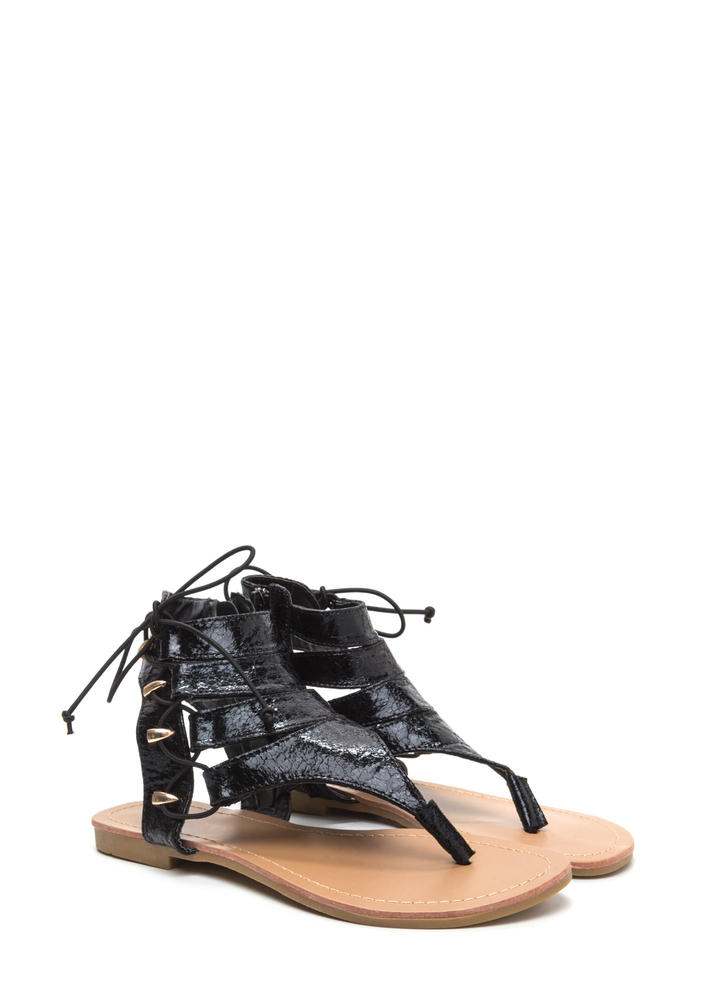 On The Side Crackled Lace-Up Sandals BLACK