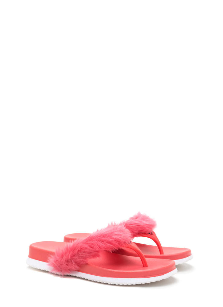Once And Fur All Jelly Thong Sandals CORAL