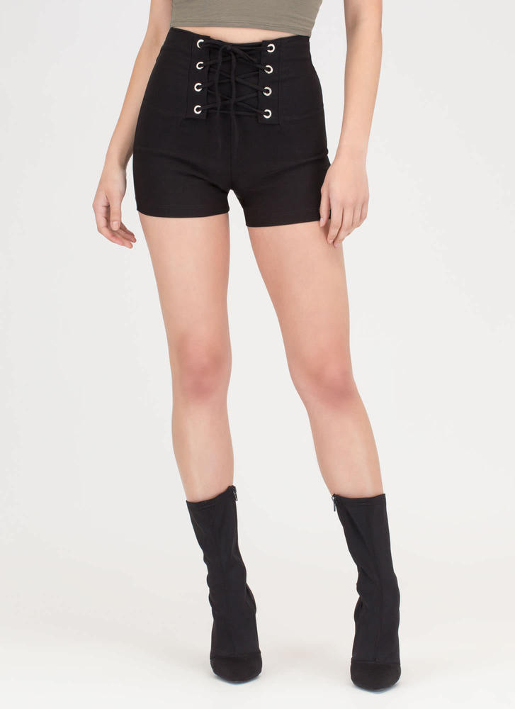 Due Corset High-Waisted Lace-Up Shorts BLACK