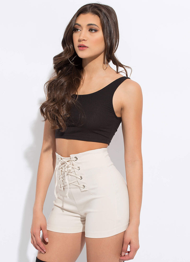 Due Corset High-Waisted Lace-Up Shorts BONE