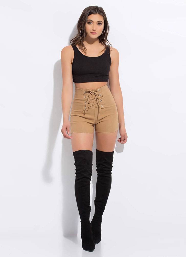 Due Corset High-Waisted Lace-Up Shorts CAMEL