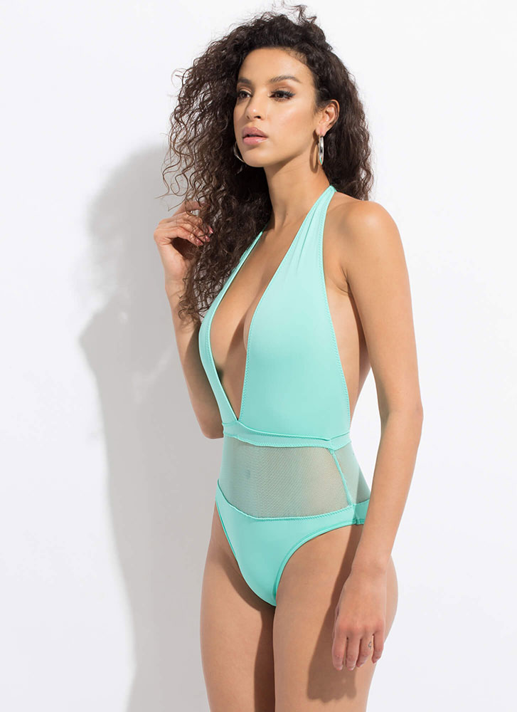 Wave Hello Mesh Inset Halter Swimsuit MINT (Final Sale)