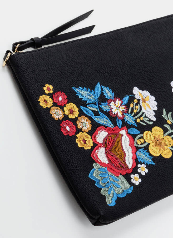 Flower Up Embroidered Rectangle Clutch BLACK